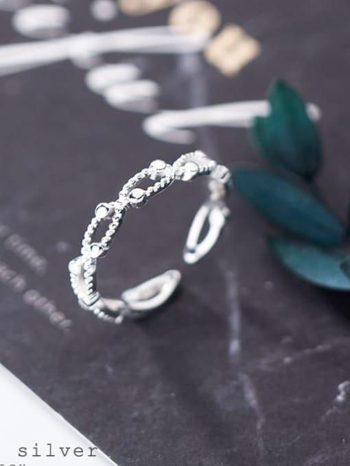 Rosh 925 Sterling Silver Cubic Zirconia  Irregular Minimalist Band Ring 0