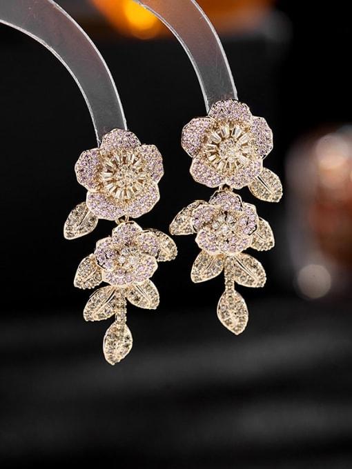 Pink zirconium yellow zirconium Brass Cubic Zirconia Flower Luxury Drop Earring