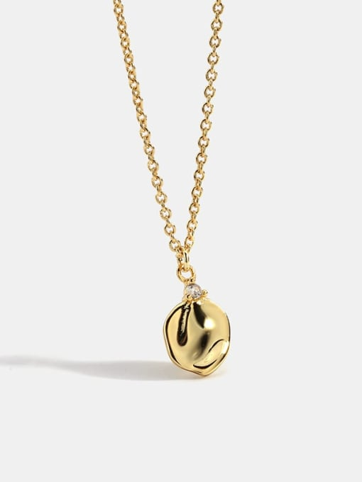 CHARME Brass Smooth Geometric Minimalist Pendant  Necklace