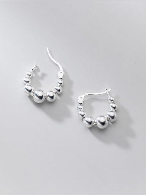 Rosh 925 Sterling Silver Bead Round Minimalist Huggie Earring 2