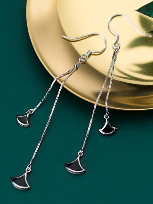 Rosh 925 Sterling Silver Red Enamel Irregular Minimalist Hook Earring 1