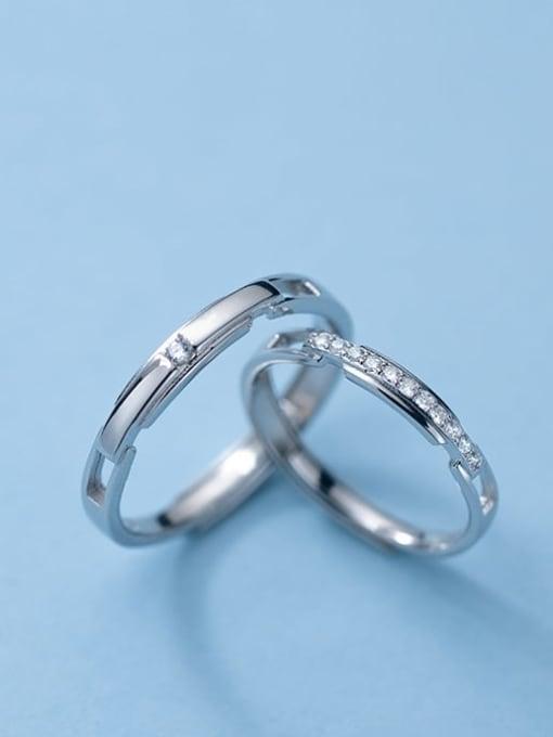 Rosh 925 Sterling Silver Rhinestone Geometric Minimalist Couple Ring 1