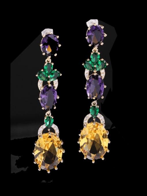 Luxu Brass Cubic Zirconia Flower Ethnic Drop Earring 0