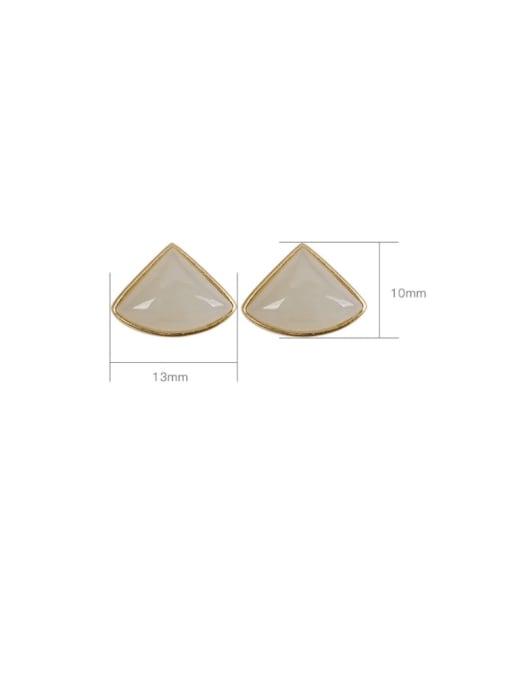 DEER 925 Sterling Silver Jade Triangle Vintage Stud Earring 4