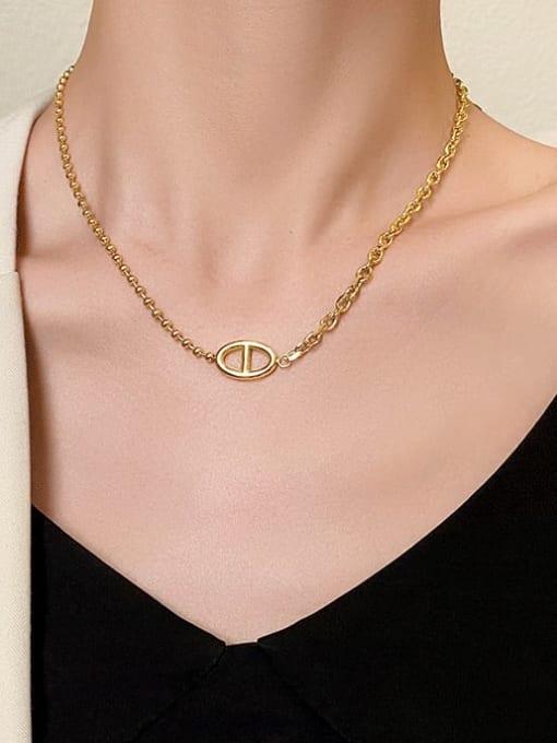 A TEEM Titanium Steel  Hollow Geometric Vintage Pendant Necklace 2