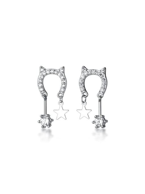 Rosh 925 Sterling Silver Cubic Zirconia Cat Minimalist Drop Earring 3