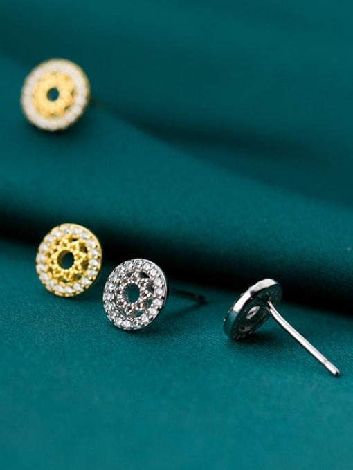 Rosh 925 Sterling Silver Rhinestone Hollow Round Minimalist Stud Earring