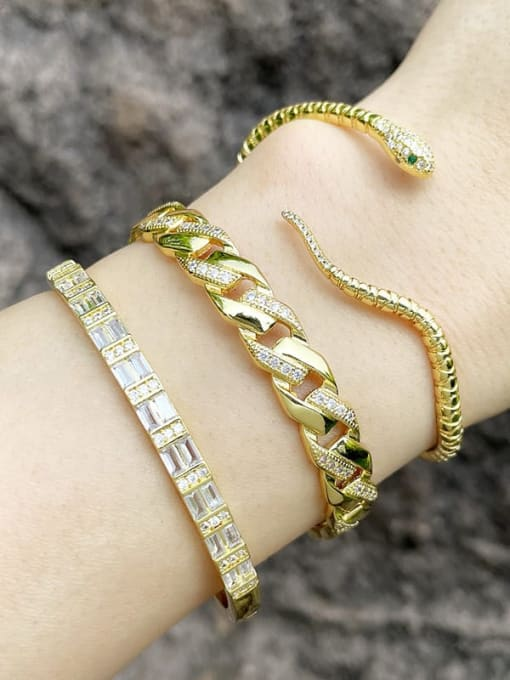 CC Brass Cubic Zirconia Snake Vintage Cuff Bangle 1