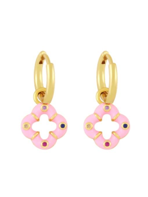 Pink Brass Enamel Clover Vintage Huggie Earring