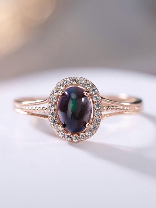 DEER 925 Sterling Silver Opal Oval Vintage Band Ring 2