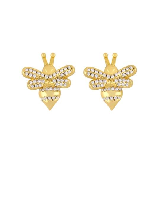 CC Brass Cubic Zirconia Butterfly Dainty Stud Earring