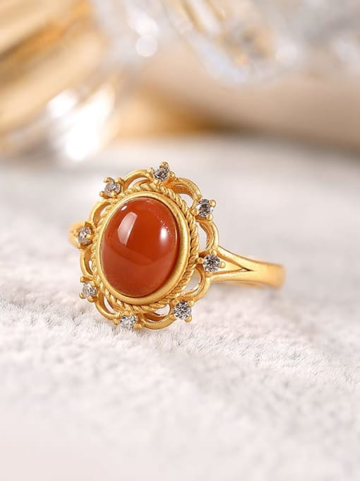 DEER 925 Sterling Silver Carnelian Geometric Ethnic Band Ring 2