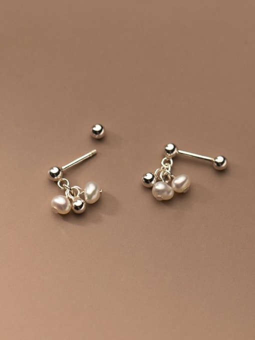Rosh 925 Sterling Silver Bead Round Minimalist Stud Earring 2