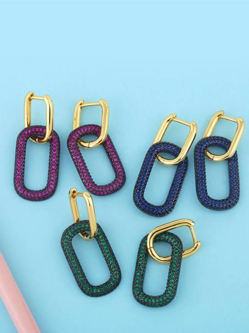 CC Brass Rhinestone Geometric Vintage Drop Earring