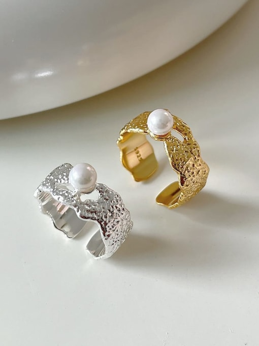 Boomer Cat 925 Sterling Silver Imitation Pearl Geometric Vintage Band Ring 0