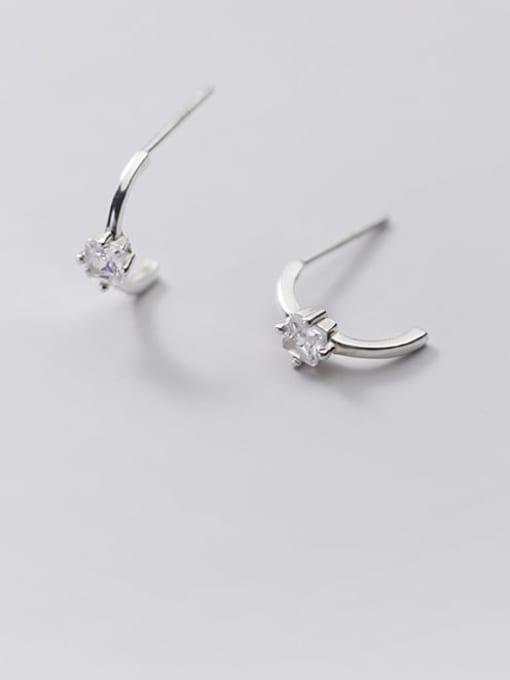 Rosh 925 Sterling Silver Cubic Zirconia Geometric Minimalist Stud Earring 0