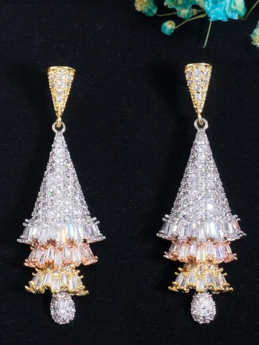 L.WIN Brass Cubic Zirconia Tree Luxury Drop Earring