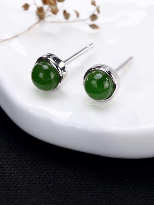 DEER 925 Sterling Silver Jade Round Cute Stud Earring 4