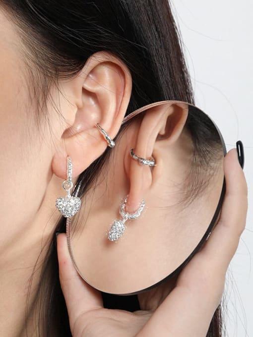 DAKA 925 Sterling Silver Cubic Zirconia Heart Vintage Huggie Earring 3