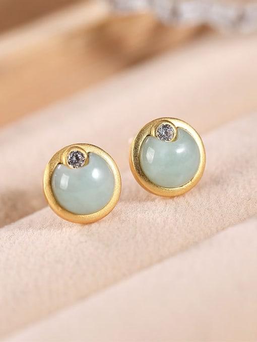DEER 925 Sterling Silver Jade Round Minimalist Stud Earring