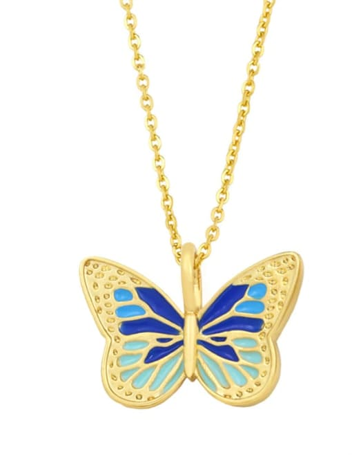D (blue) Brass Enamel Butterfly Minimalist Necklace