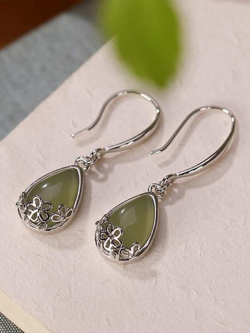DEER 925 Sterling Silver Jade Water Drop Vintage Hook Earring 3