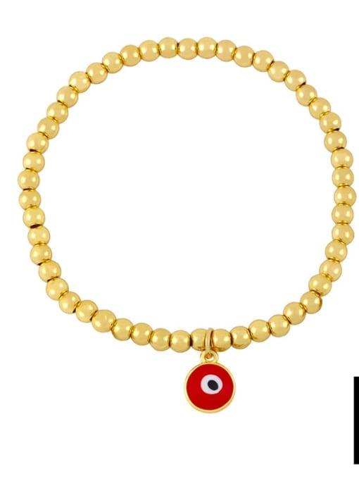 D (red eyes) Brass Bead Enamel Flower Hip Hop Beaded Bracelet