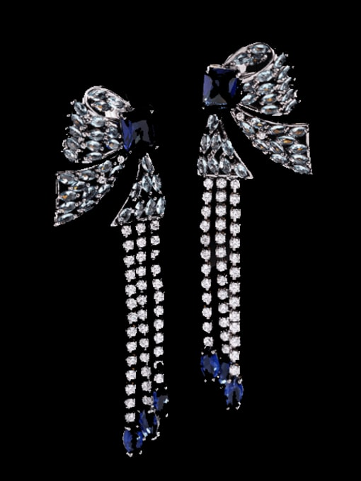Blue Brass Cubic Zirconia Butterfly Ethnic Drop Earring