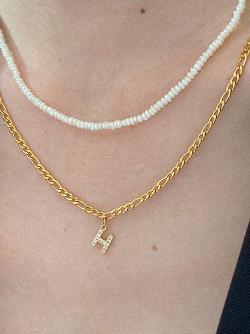 LI MUMU Titanium Steel Cubic Zirconia Letter Vintage Necklace 2
