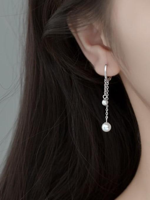 Rosh 925 Sterling Silver Imitation Pearl Tassel Minimalist Huggie Earring 2