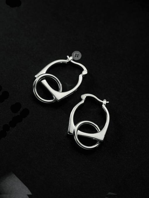 silver ear buckle 925 Sterling Silver Geometric Minimalist Huggie Earring