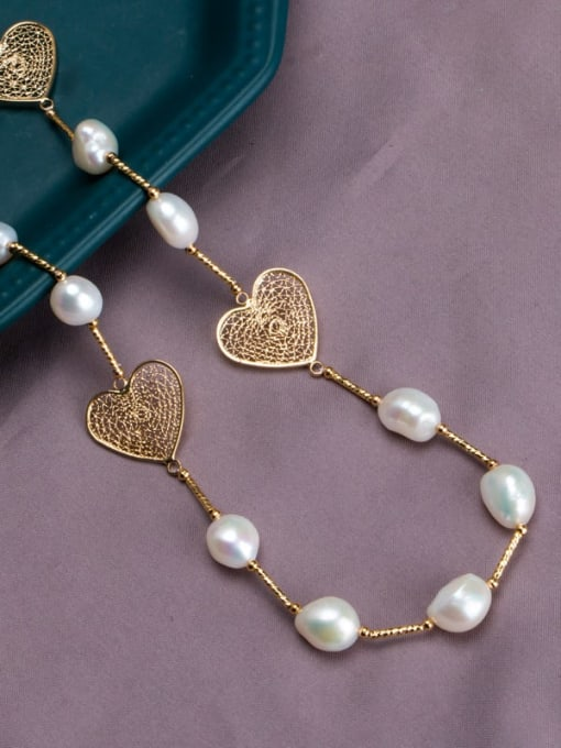 RAIN Brass Freshwater Pearl Hollow Heart Vintage Necklace 3