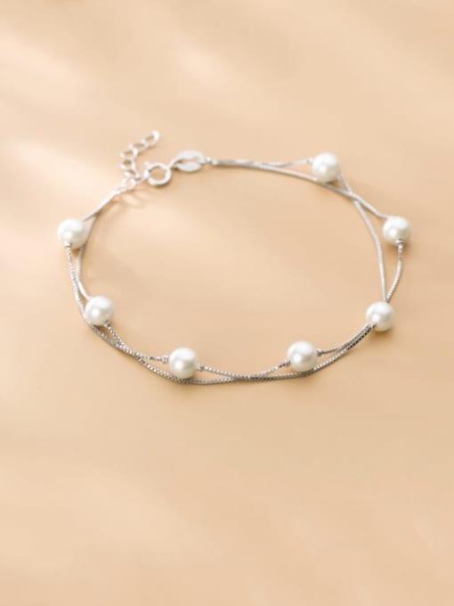 Rosh 925 Sterling Silver Imitation Pearl Round Minimalist Link Bracelet 1