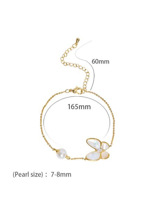 Bracelet Brass Shell Cute Butterfly  Braclete and Necklace Set