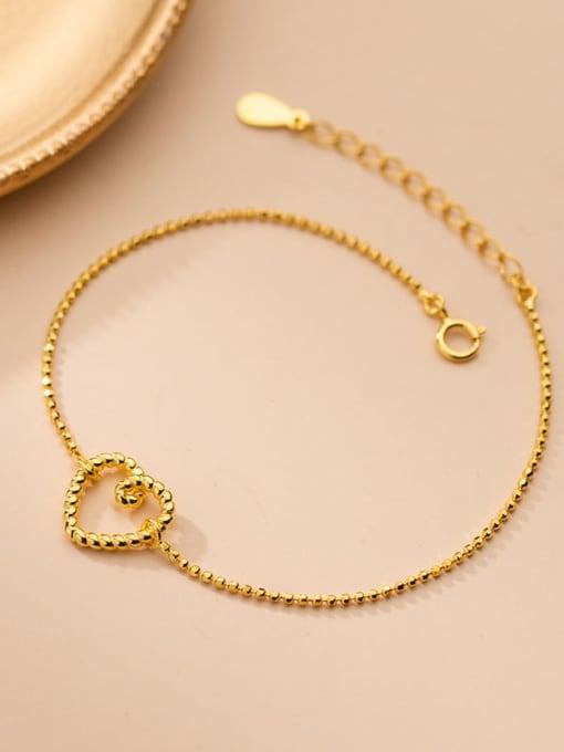 Rosh 925 Sterling Silver Hollow Heart Minimalist Beaded Bracelet