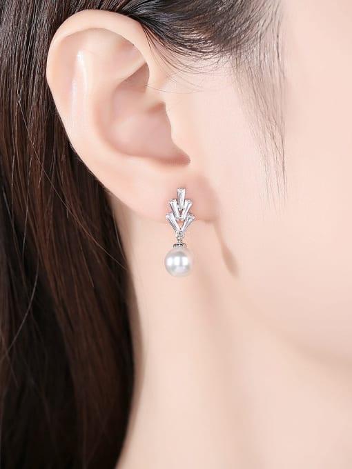 BLING SU Brass Cubic Zirconia Flower Minimalist Drop Earring 1