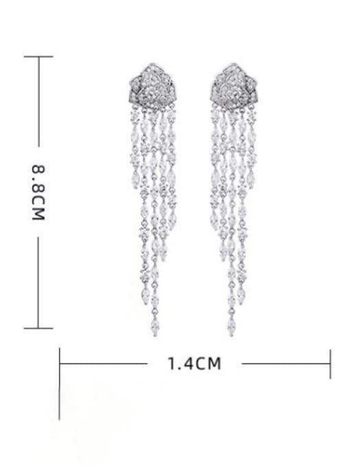 Luxu Brass Cubic Zirconia Tassel Trend Drop Earring 2
