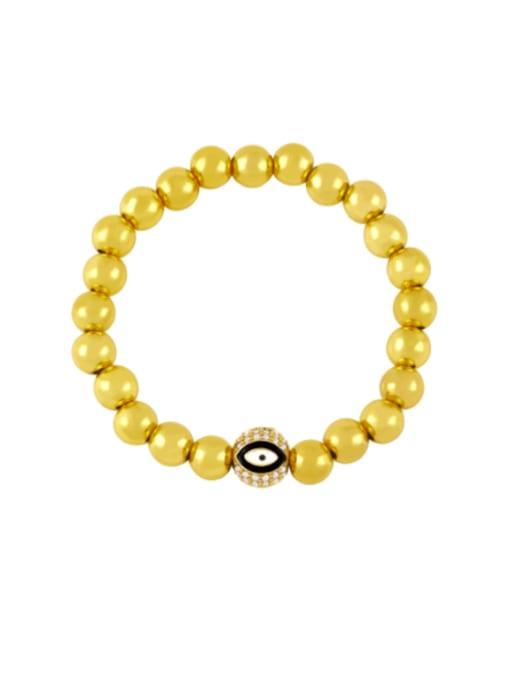 black Brass Rhinestone Enamel Evil Eye Vintage Beaded Bracelet