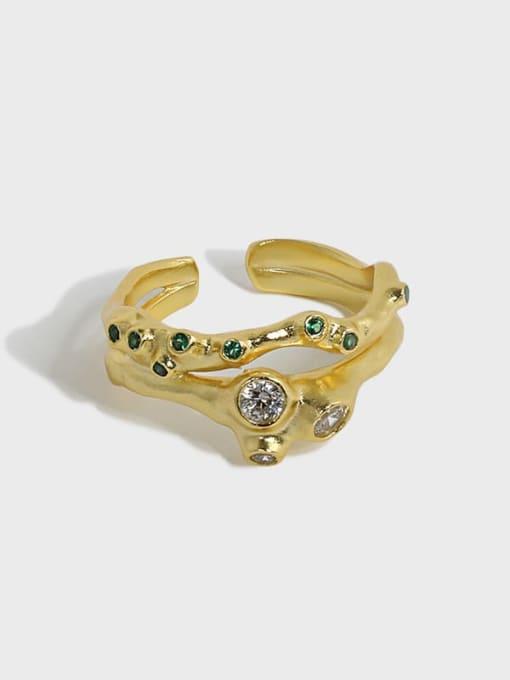 DAKA 925 Sterling Silver Rhinestone Irregular Vintage Stackable Ring