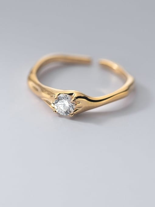 Rosh 925 Sterling Silver Cubic Zirconia Geometric Vintage Band Ring 1