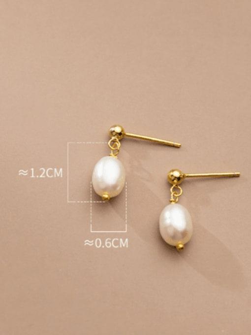 Rosh 925 Sterling Silver Imitation Pearl Water Drop Minimalist Stud Earring 2