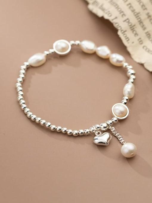 Rosh 925 Sterling Silver Freshwater Pearl Geometric Minimalist Stretch Bracelet 1