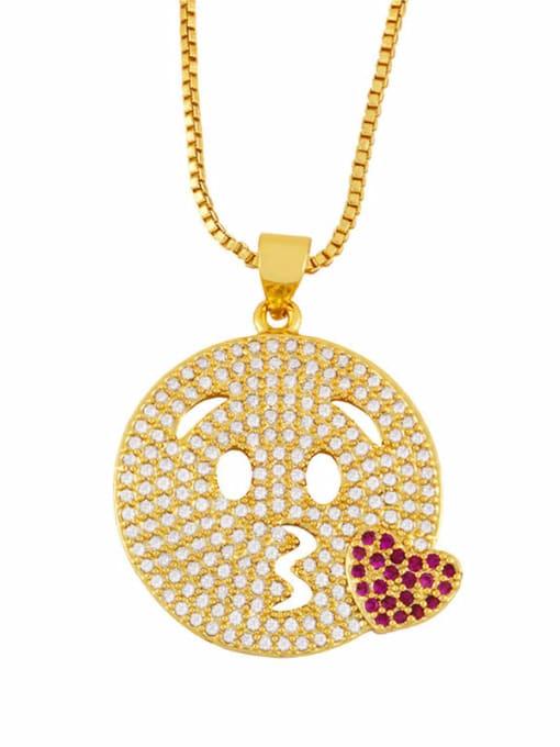 CC Brass Cubic Zirconia Smiley Vintage Necklace 1
