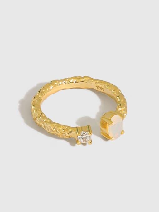 Dak Phoenix 925 Sterling Silver Opal Round Minimalist Band Ring
