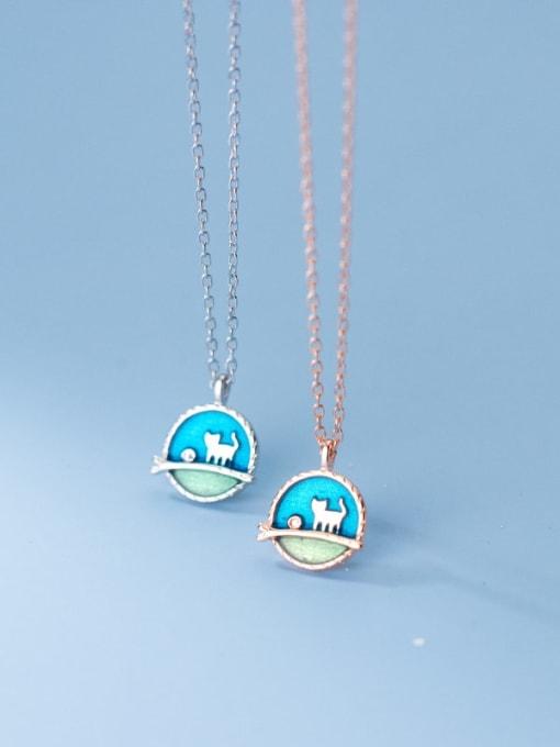 Rosh 925 Sterling Silver Enamel Round Minimalist Necklace 1