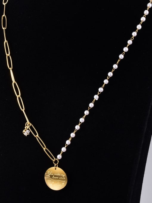 A TEEM Titanium Steel Imitation Pearl Geometric Vintage Necklace 1