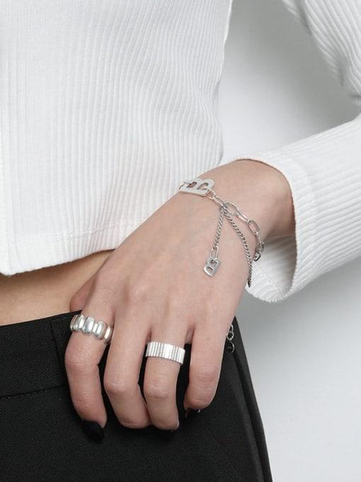 DAKA 925 Sterling Silver Irregular Vintage Hollow Chain Link Bracelet 1