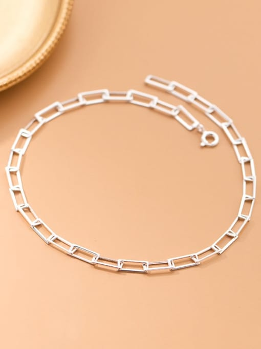 Rosh 925 Sterling Silver  Hollow Geometric Minimalist Anklet 0