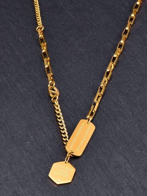 A TEEM Titanium Letter Minimalist Geometry Pendant Necklace 0