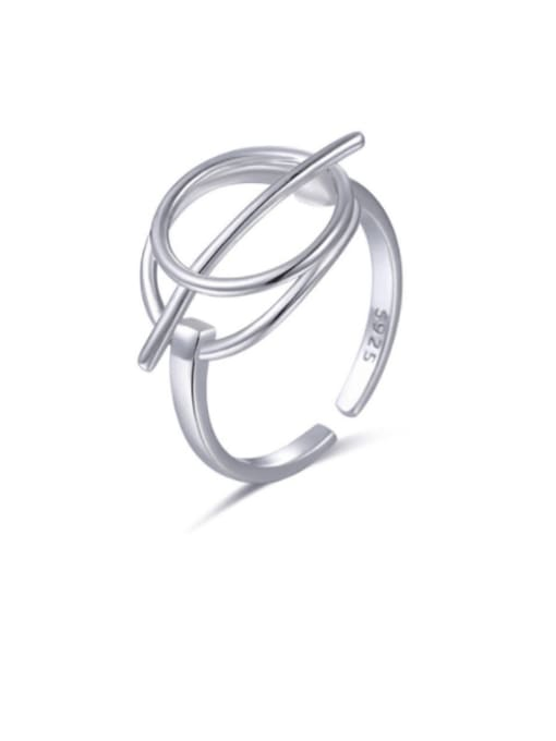 Boomer Cat 925 Sterling Silver Hollow Geometric Minimalist Band Ring 0